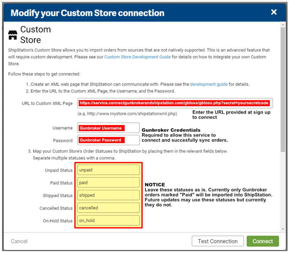 Demonstration of where to modify your Custom Store details for importing shipping information to GunBroker from ShipStation.